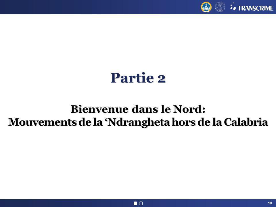 10 Partie 2 Bienvenue dans le Nord: Mouvements de la Ndrangheta hors de la Calabria