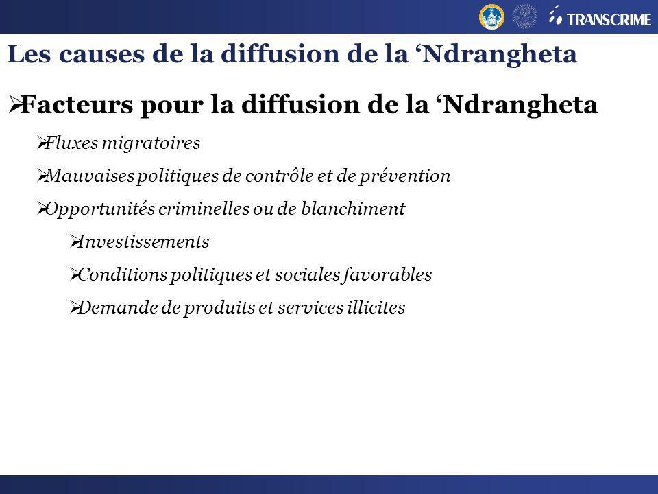 Les causes de la diffusion de la Ndrangheta Facteurs pour la diffusion de la Ndrangheta Fluxes migratoires Mauvaises politiques de contrôle et de prév