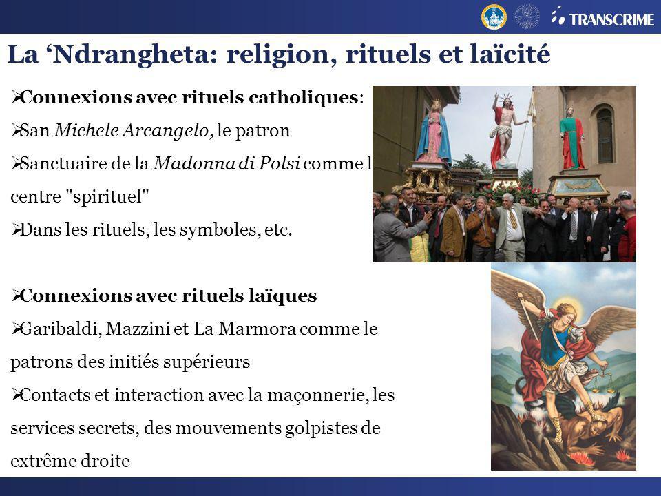 La Ndrangheta: religion, rituels et laïcité Connexions avec rituels catholiques: San Michele Arcangelo, le patron Sanctuaire de la Madonna di Polsi co