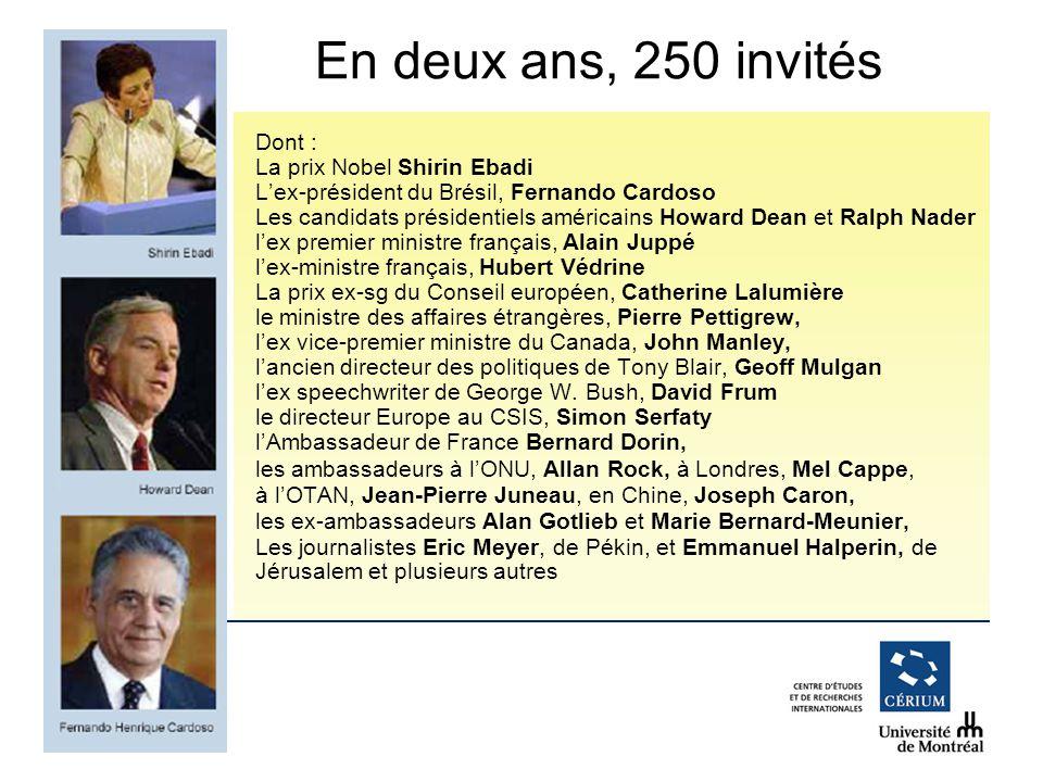 www.cerium.ca Dont : La prix Nobel Shirin Ebadi Lex-président du Brésil, Fernando Cardoso Les candidats présidentiels américains Howard Dean et Ralph