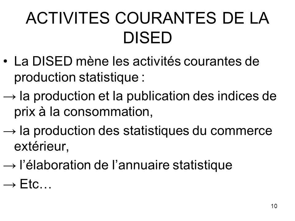 10 ACTIVITES COURANTES DE LA DISED La DISED mène les activités courantes de production statistique : la production et la publication des indices de pr