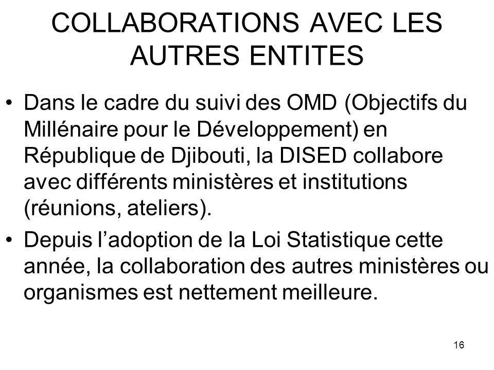 16 COLLABORATIONS AVEC LES AUTRES ENTITES Dans le cadre du suivi des OMD (Objectifs du Millénaire pour le Développement) en République de Djibouti, la DISED collabore avec différents ministères et institutions (réunions, ateliers).