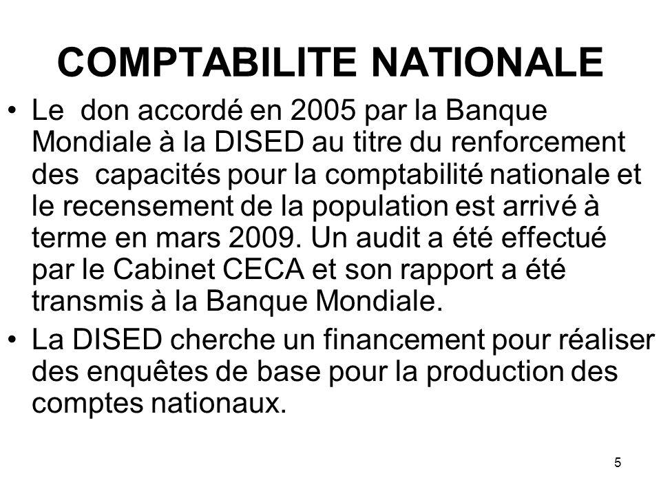 6 COMPTABILITE NATIONALE Le rapport final de lexpert international a souligné quune assistance technique internationale est obligatoire pour réaliser les travaux des différentes enquêtes.