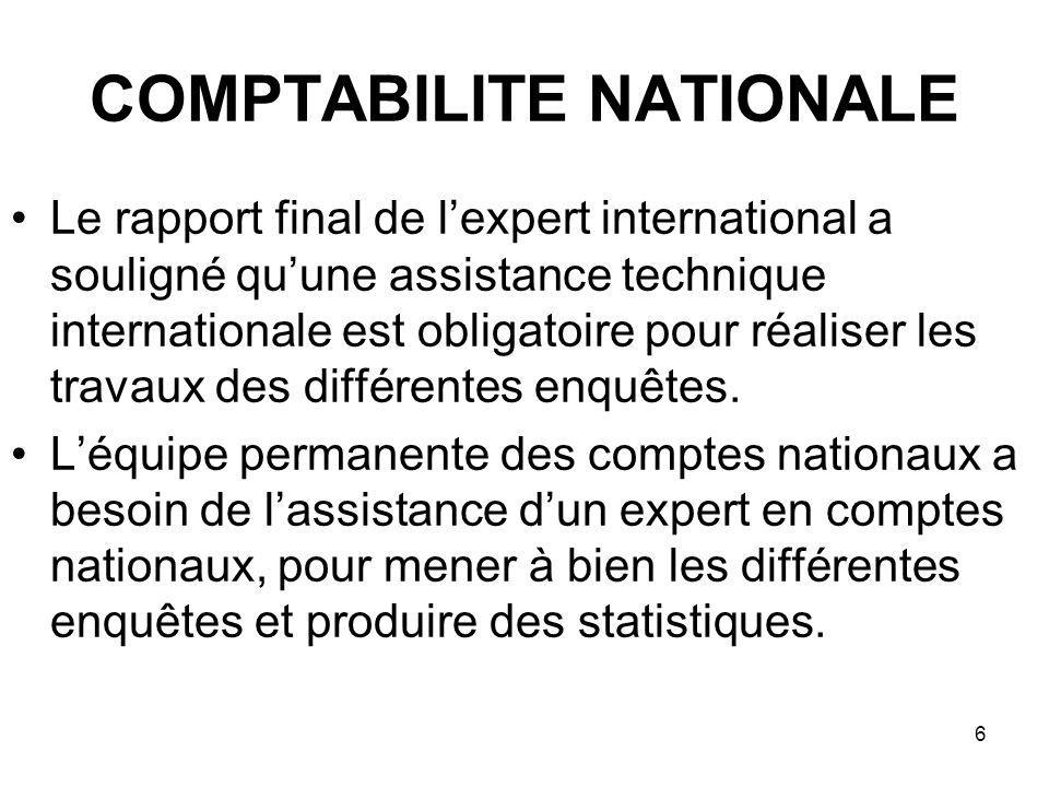 6 COMPTABILITE NATIONALE Le rapport final de lexpert international a souligné quune assistance technique internationale est obligatoire pour réaliser les travaux des différentes enquêtes.