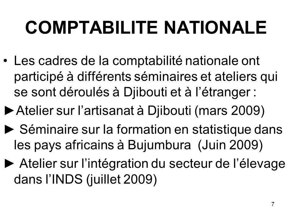 7 COMPTABILITE NATIONALE Les cadres de la comptabilité nationale ont participé à différents séminaires et ateliers qui se sont déroulés à Djibouti et