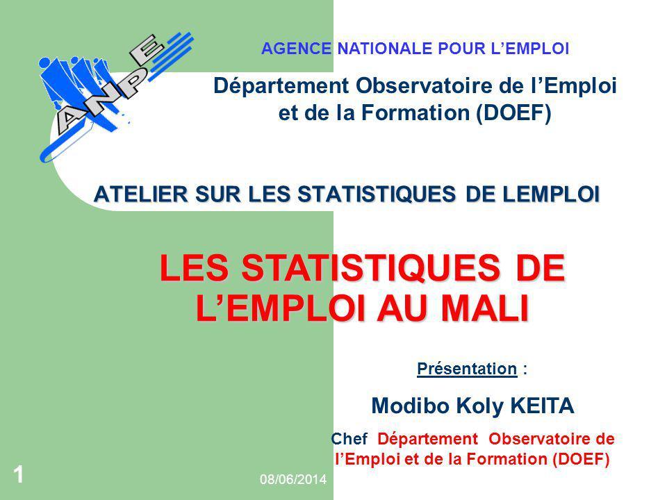 08/06/2014 1 ATELIER SUR LES STATISTIQUES DE LEMPLOI Présentation : Modibo Koly KEITA Chef Département Observatoire de lEmploi et de la Formation (DOE