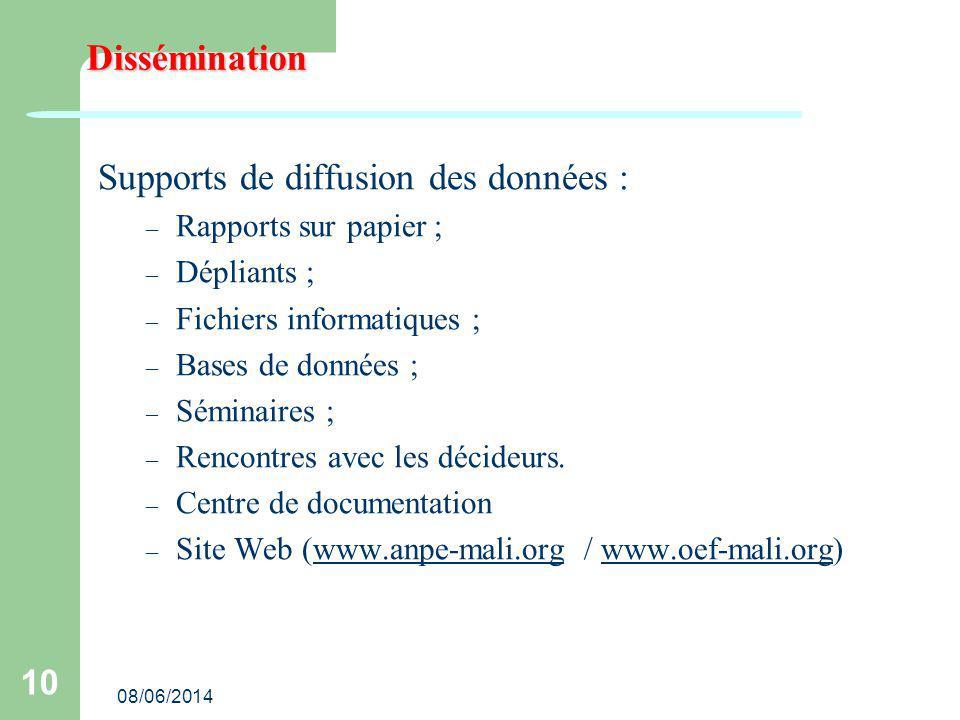 08/06/2014 10 Dissémination Supports de diffusion des données : – Rapports sur papier ; – Dépliants ; – Fichiers informatiques ; – Bases de données ; – Séminaires ; – Rencontres avec les décideurs.