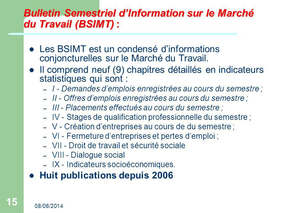 08/06/2014 15 Bulletin Semestriel dInformation sur le Marché du Travail (BSIMT) : Les BSIMT est un condensé dinformations conjoncturelles sur le Marché du Travail.
