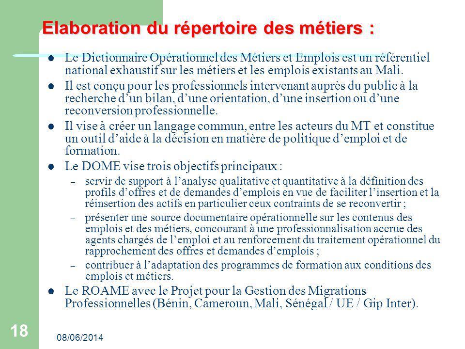 08/06/2014 18 Elaboration du répertoire des métiers : Le Dictionnaire Opérationnel des Métiers et Emplois est un référentiel national exhaustif sur les métiers et les emplois existants au Mali.