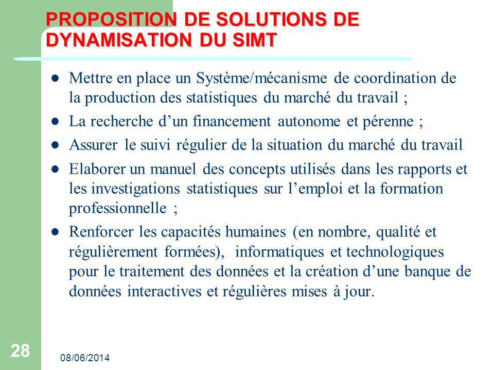 08/06/2014 28 PROPOSITION DE SOLUTIONS DE DYNAMISATION DU SIMT Mettre en place un Système/mécanisme de coordination de la production des statistiques