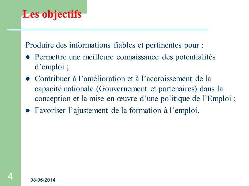 08/06/2014 4 Les objectifs Produire des informations fiables et pertinentes pour : Permettre une meilleure connaissance des potentialités demploi ; Co