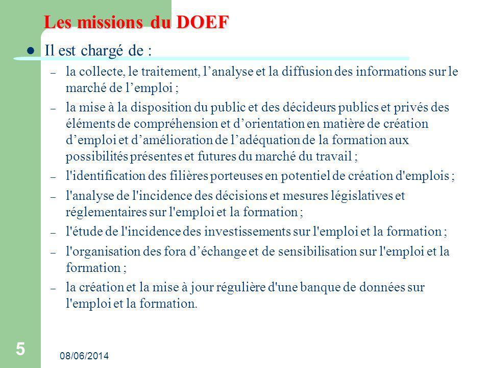 08/06/2014 5 Les missions du DOEF Il est chargé de : – la collecte, le traitement, lanalyse et la diffusion des informations sur le marché de lemploi