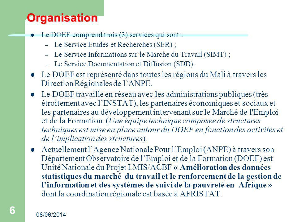 08/06/2014 6 Organisation Le DOEF comprend trois (3) services qui sont : – Le Service Etudes et Recherches (SER) ; – Le Service Informations sur le Marché du Travail (SIMT) ; – Le Service Documentation et Diffusion (SDD).