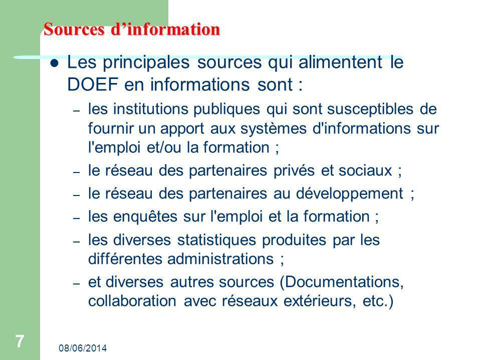 08/06/2014 7 Sources dinformation Les principales sources qui alimentent le DOEF en informations sont : – les institutions publiques qui sont suscepti