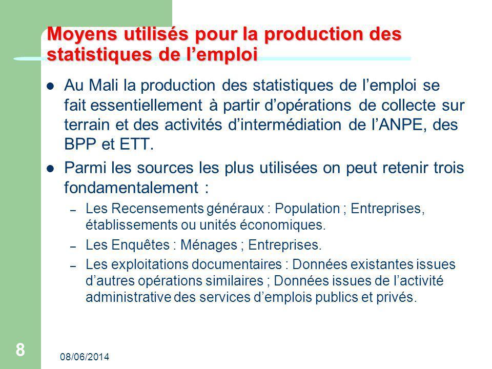 08/06/2014 8 Moyens utilisés pour la production des statistiques de lemploi Au Mali la production des statistiques de lemploi se fait essentiellement à partir dopérations de collecte sur terrain et des activités dintermédiation de lANPE, des BPP et ETT.
