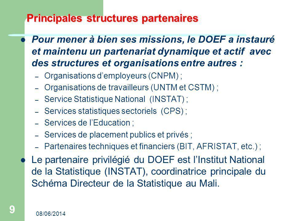 08/06/2014 9 Principales structures partenaires Pour mener à bien ses missions, le DOEF a instauré et maintenu un partenariat dynamique et actif avec