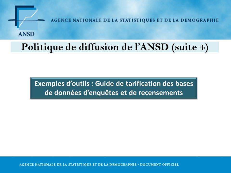 Exemples doutils : Guide de tarification des bases de données denquêtes et de recensements Politique de diffusion de lANSD (suite 4)