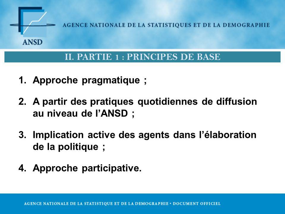 1.Approche pragmatique ; 2.A partir des pratiques quotidiennes de diffusion au niveau de lANSD ; 3.Implication active des agents dans lélaboration de la politique ; 4.Approche participative.