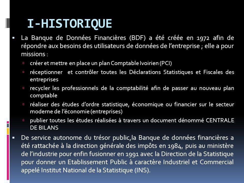 I-HISTORIQUE La Banque de Données Financières (BDF) a été créée en 1972 afin de répondre aux besoins des utilisateurs de données de lentreprise ; elle a pour missions : créer et mettre en place un plan Comptable Ivoirien (PCI) réceptionner et contrôler toutes les Déclarations Statistiques et Fiscales des entreprises recycler les professionnels de la comptabilité afin de passer au nouveau plan comptable réaliser des études dordre statistique, économique ou financier sur le secteur moderne de léconomie (entreprises) publier toutes les études réalisées à travers un document dénommé CENTRALE DE BILANS De service autonome du trésor public,la Banque de données financières a été rattachée à la direction générale des impôts en 1984, puis au ministère de lindustrie pour enfin fusionner en 1991 avec la Direction de la Statistique pour donner un Etablissement Public à caractère Industriel et Commercial appelé Institut National de la Statistique (INS).