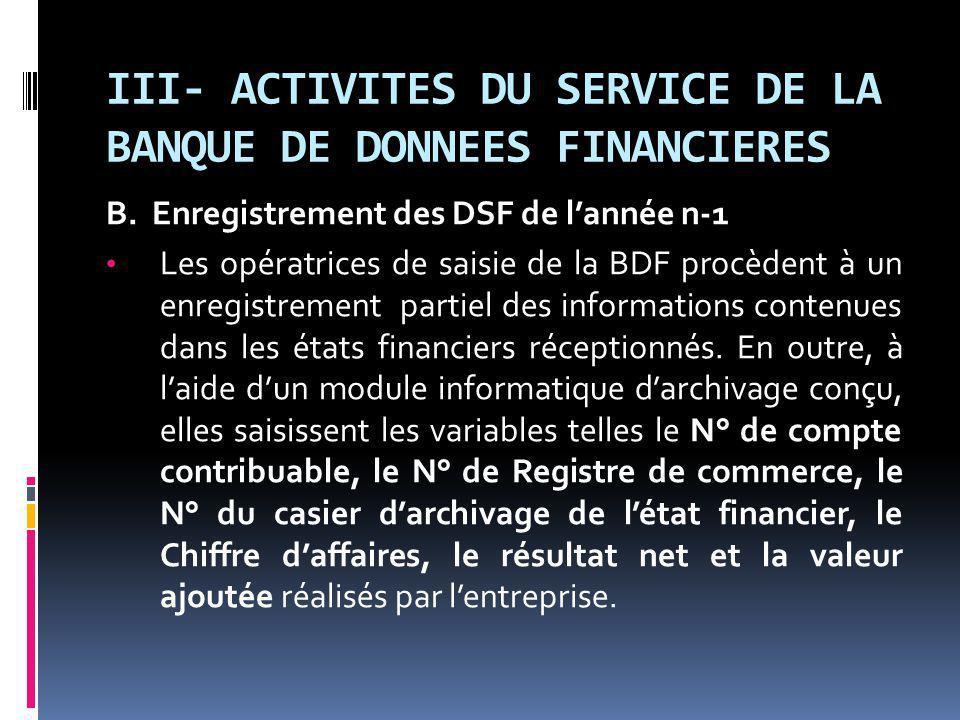 III- ACTIVITES DU SERVICE DE LA BANQUE DE DONNEES FINANCIERES B.