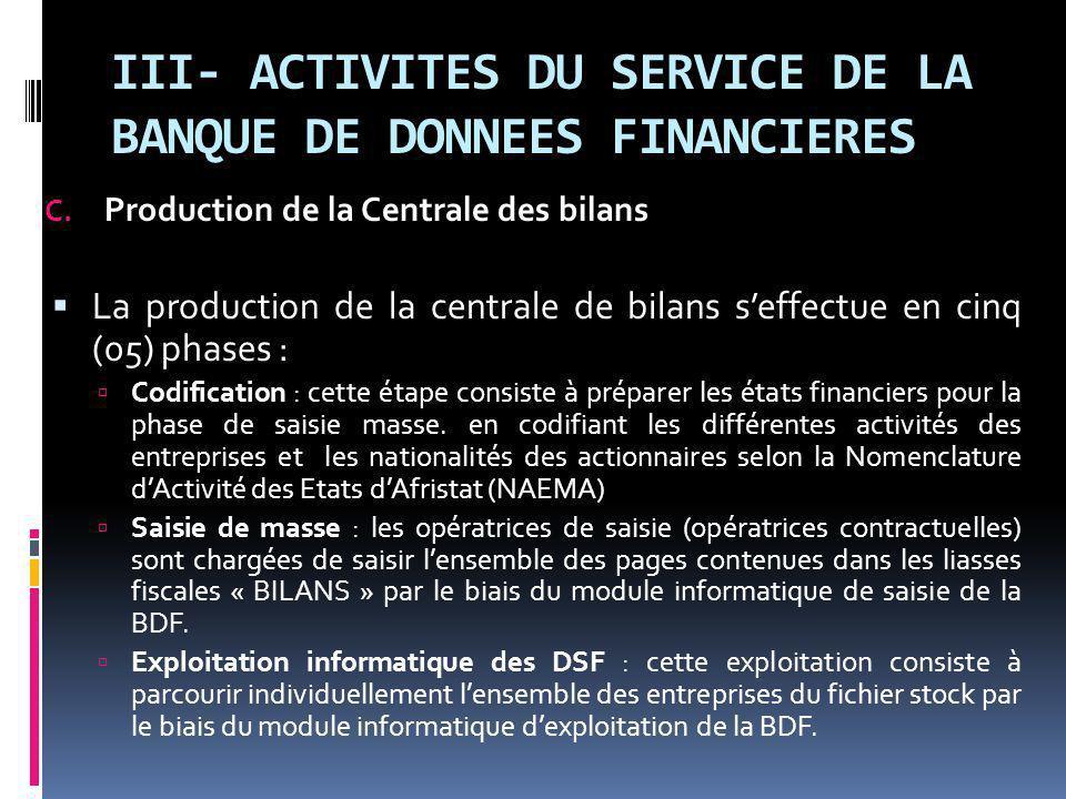 III- ACTIVITES DU SERVICE DE LA BANQUE DE DONNEES FINANCIERES C.