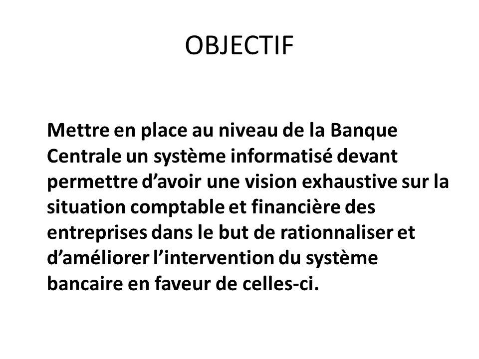 OBJECTIF Mettre en place au niveau de la Banque Centrale un système informatisé devant permettre davoir une vision exhaustive sur la situation comptab