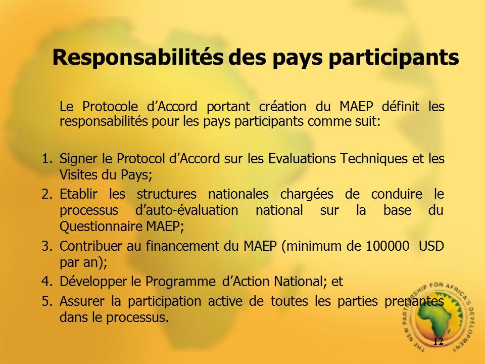 Responsabilités des pays participants Le Protocole dAccord portant création du MAEP définit les responsabilités pour les pays participants comme suit: