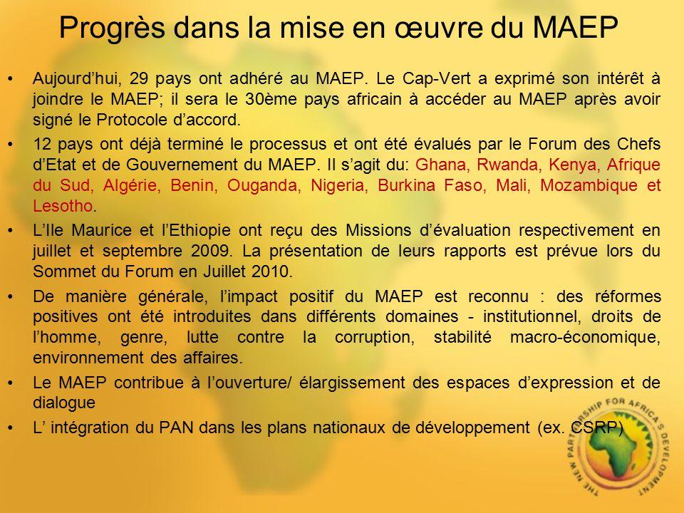 Progrès dans la mise en œuvre du MAEP Aujourdhui, 29 pays ont adhéré au MAEP. Le Cap-Vert a exprimé son intérêt à joindre le MAEP; il sera le 30ème pa