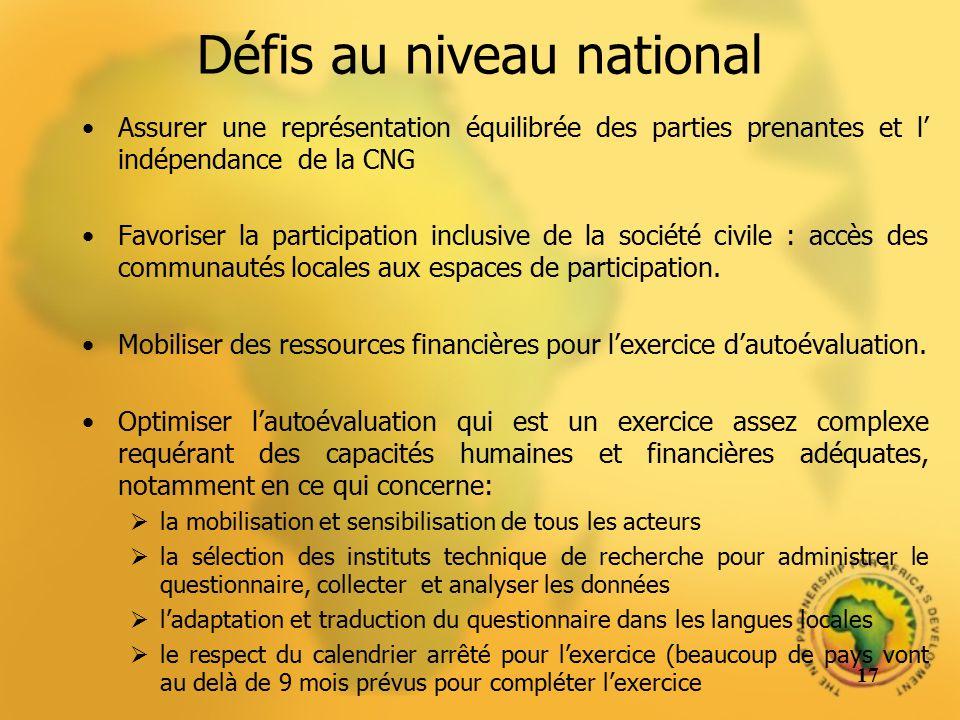 Défis au niveau national Assurer une représentation équilibrée des parties prenantes et l indépendance de la CNG Favoriser la participation inclusive