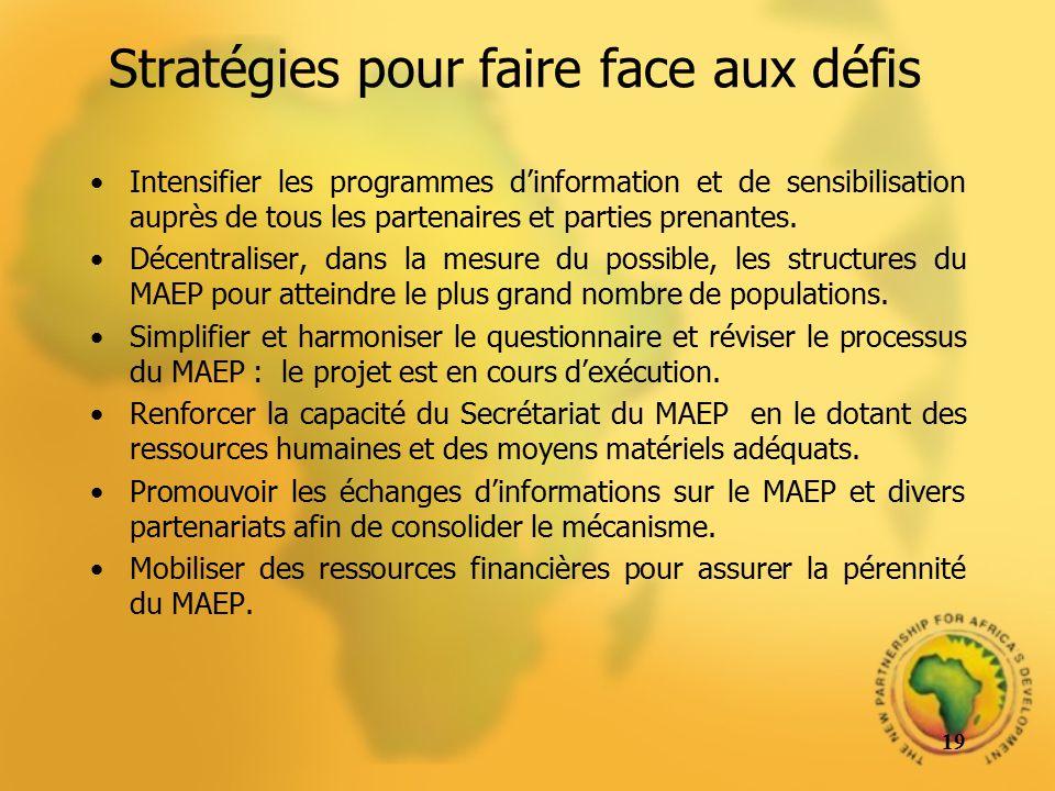 Stratégies pour faire face aux défis Intensifier les programmes dinformation et de sensibilisation auprès de tous les partenaires et parties prenantes