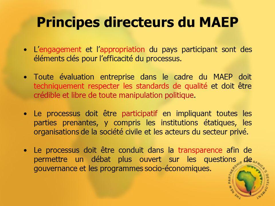 Principes directeurs du MAEP Lengagement et lappropriation du pays participant sont des éléments clés pour lefficacité du processus. Toute évaluation