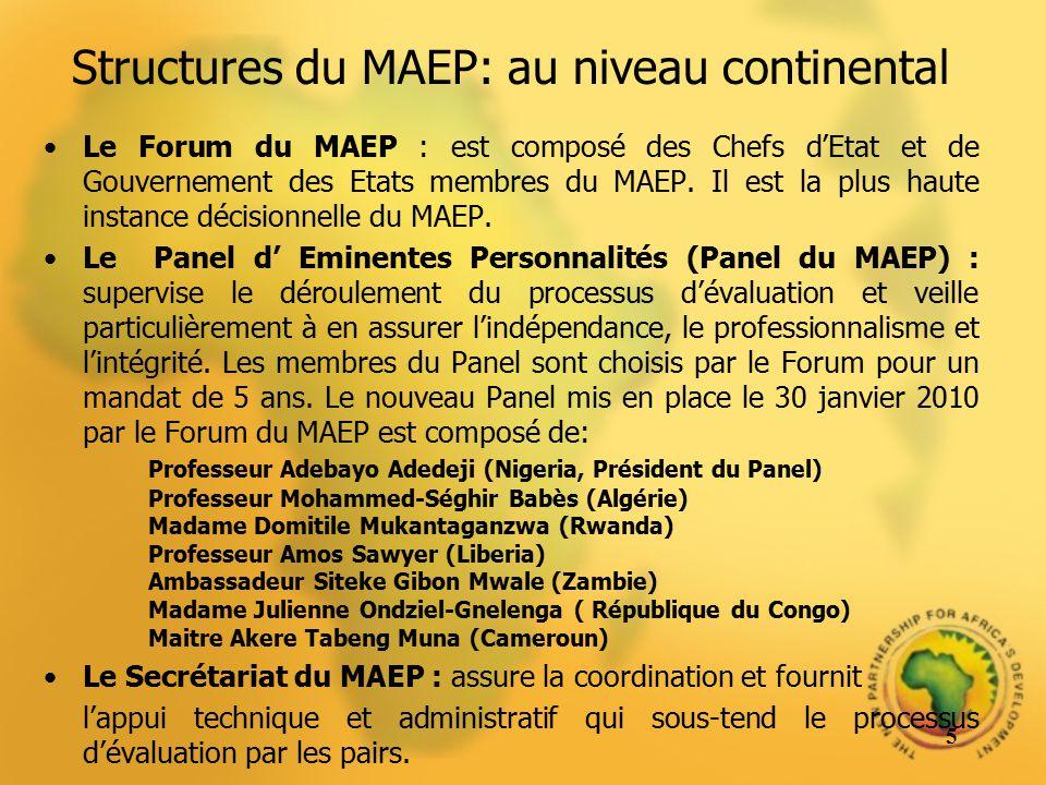 Structures du MAEP: au niveau national Le Point focal : quelquun du rang de ministre ou une personne travaillant directement sous les ordres du Chef de lEtat nommée pour assurer la gestion du processus national.