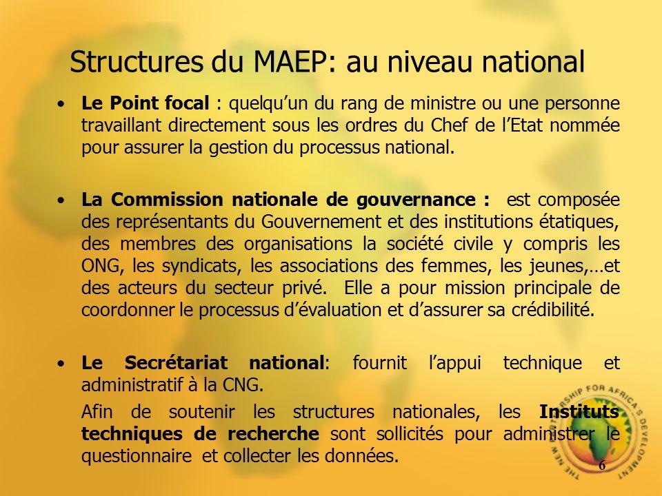 Structures du MAEP: au niveau national Le Point focal : quelquun du rang de ministre ou une personne travaillant directement sous les ordres du Chef d