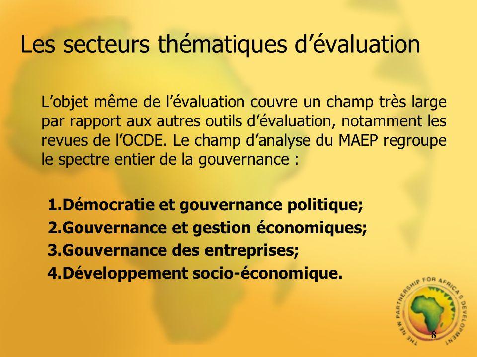 Les secteurs thématiques dévaluation Lobjet même de lévaluation couvre un champ très large par rapport aux autres outils dévaluation, notamment les re