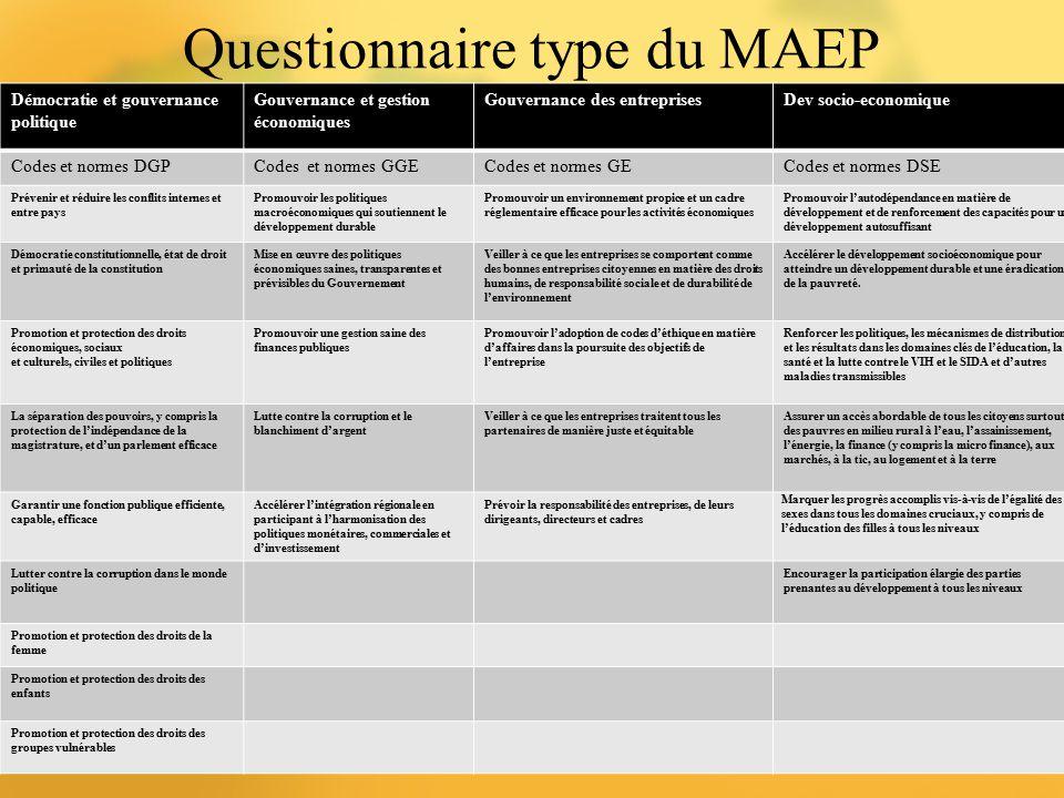 Questionnaire type du MAEP 9 Démocratie et gouvernance politique Gouvernance et gestion économiques Gouvernance des entreprisesDev socio-economique Co