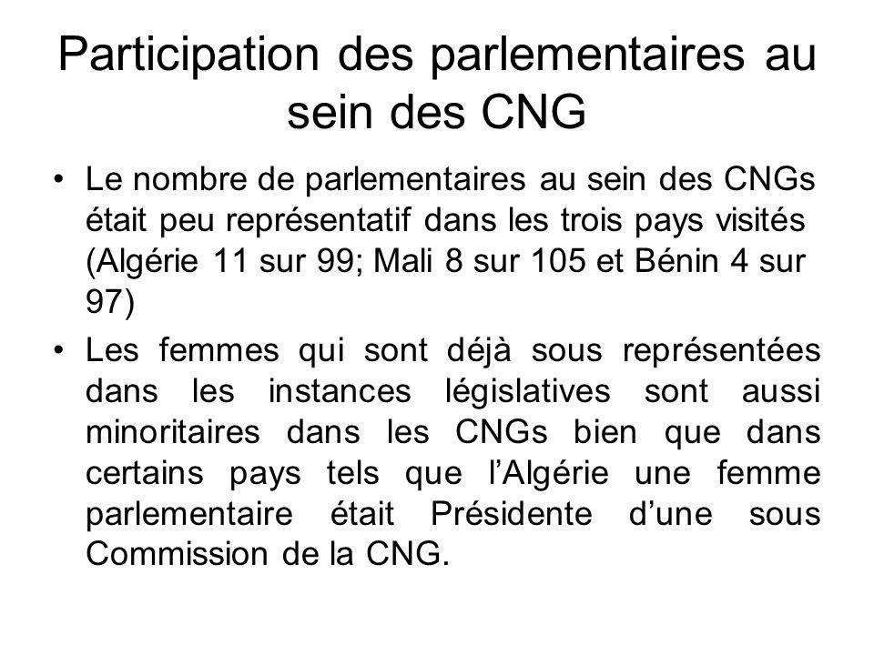 Recommandations pour les parlementaires femmes Inciter à la ratification des instruments internationaux, régionaux et sous régionaux sur légalité entre les sexes; Veiller à lintégration des normes internationales dans le droit interne;