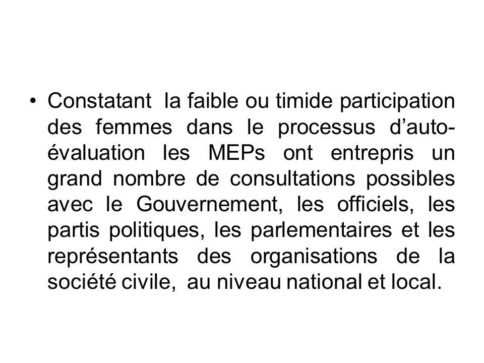 Le problème de laccès à la prise décision a été soulevé à plusieurs reprises lors des différentes consultations que la MEP a eues avec les parties prenantes dans les trois pays visités;