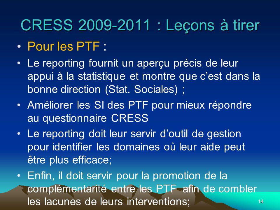 CRESS 2009-2011 : Leçons à tirer Pour les PTF : Le reporting fournit un aperçu précis de leur appui à la statistique et montre que cest dans la bonne direction (Stat.