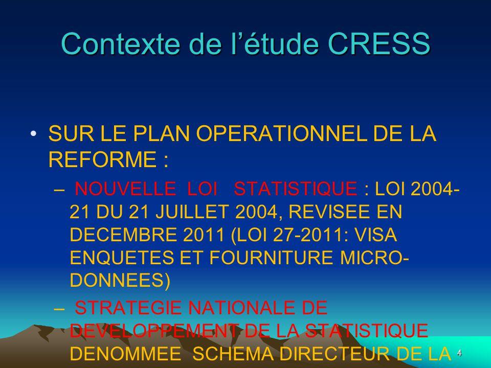 Contexte de létude CRESS SUR LE PLAN OPERATIONNEL DE LA REFORME : – NOUVELLE LOI STATISTIQUE : LOI 2004- 21 DU 21 JUILLET 2004, REVISEE EN DECEMBRE 2011 (LOI 27-2011: VISA ENQUETES ET FOURNITURE MICRO- DONNEES) – STRATEGIE NATIONALE DE DEVELOPPEMENT DE LA STATISTIQUE DENOMMEE SCHEMA DIRECTEUR DE LA STATISTIQUE (SDS 2008-2013 : 104 MILLIONS USD) 4