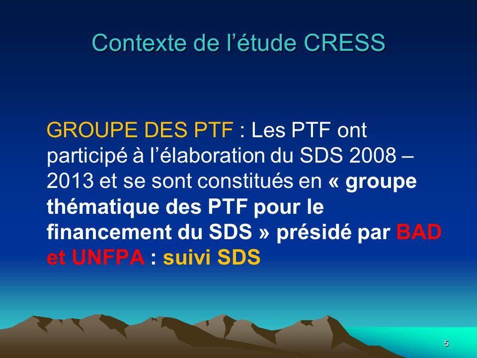 Contexte de létude CRESS GROUPE DES PTF : Les PTF ont participé à lélaboration du SDS 2008 – 2013 et se sont constitués en « groupe thématique des PTF pour le financement du SDS » présidé par BAD et UNFPA : suivi SDS 5