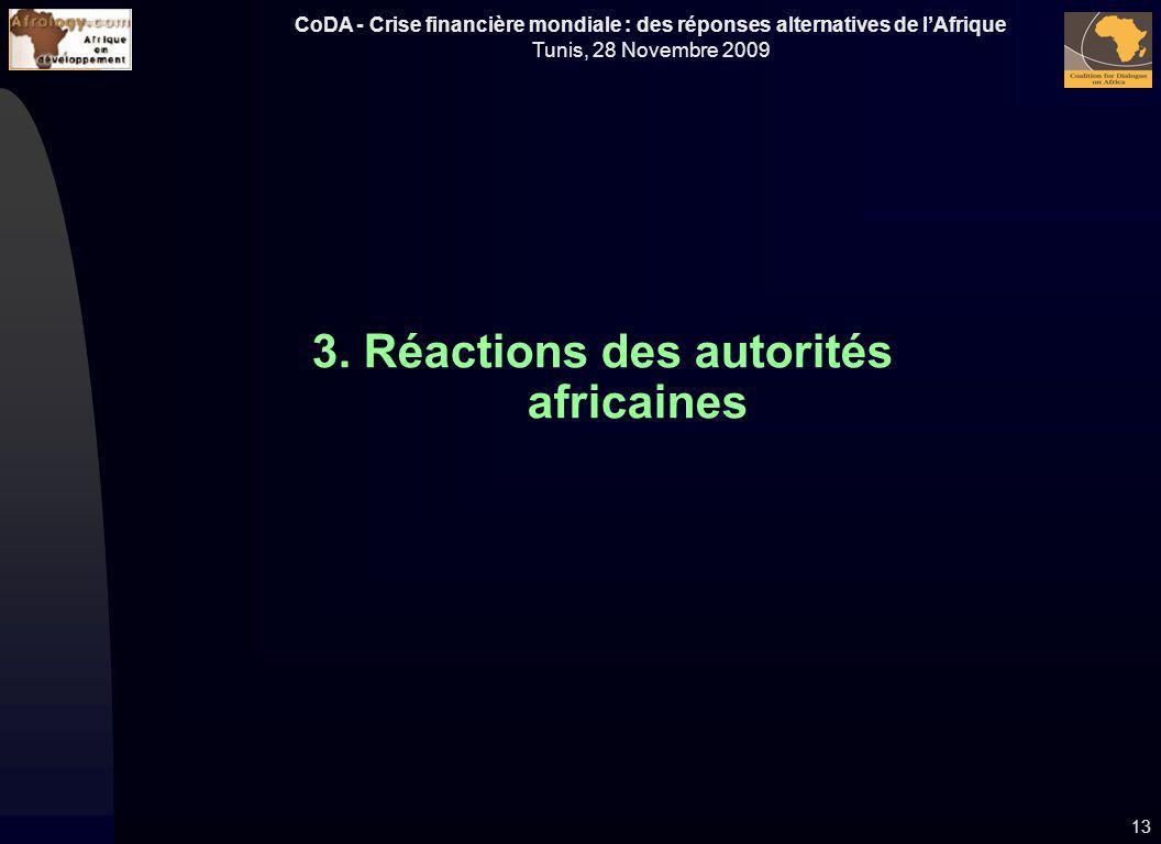 CoDA - Crise financière mondiale : des réponses alternatives de lAfrique Tunis, 28 Novembre 2009 3. Réactions des autorités africaines 13