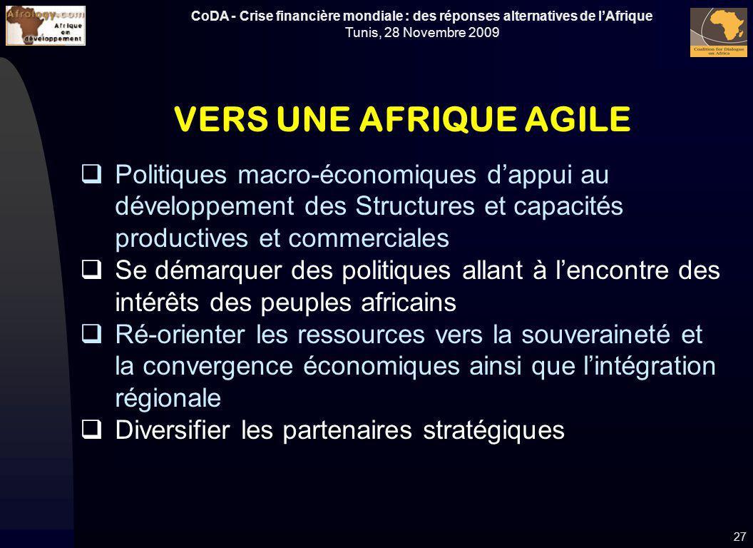 CoDA - Crise financière mondiale : des réponses alternatives de lAfrique Tunis, 28 Novembre 2009 27 VERS UNE AFRIQUE AGILE Politiques macro-économique