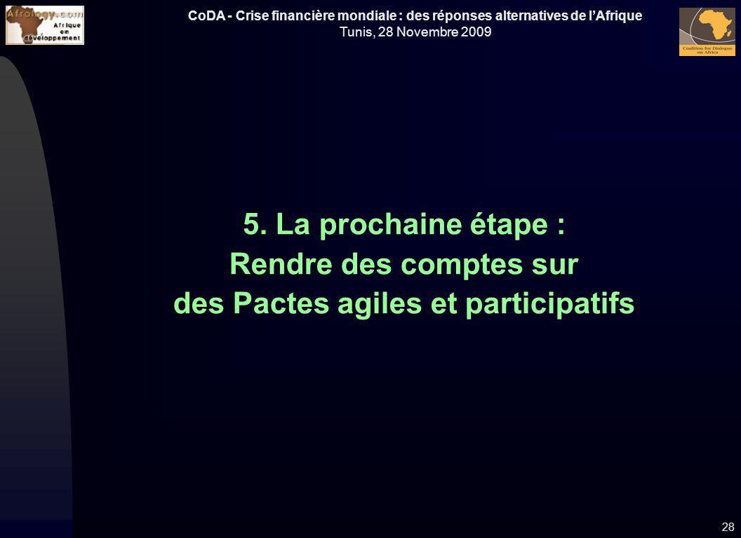 CoDA - Crise financière mondiale : des réponses alternatives de lAfrique Tunis, 28 Novembre 2009 5. La prochaine étape : Rendre des comptes sur des Pa