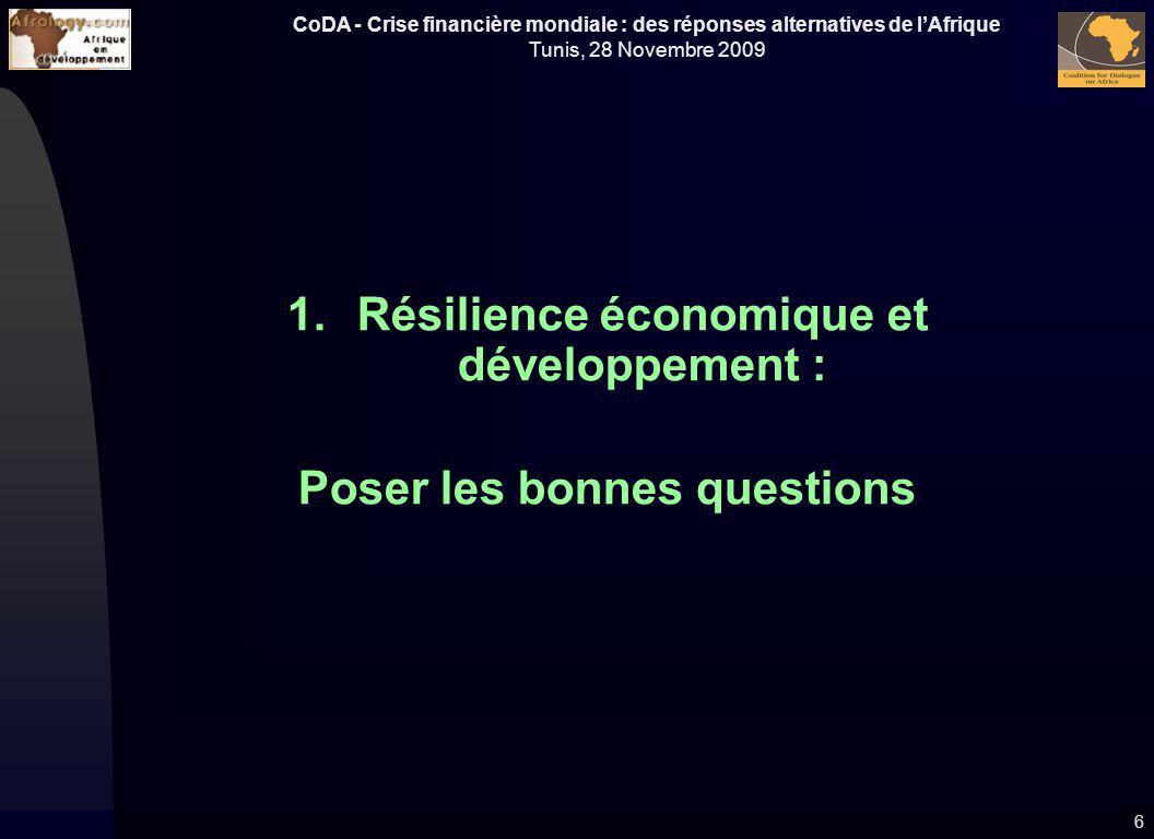 CoDA - Crise financière mondiale : des réponses alternatives de lAfrique Tunis, 28 Novembre 2009 1.Résilience économique et développement : Poser les