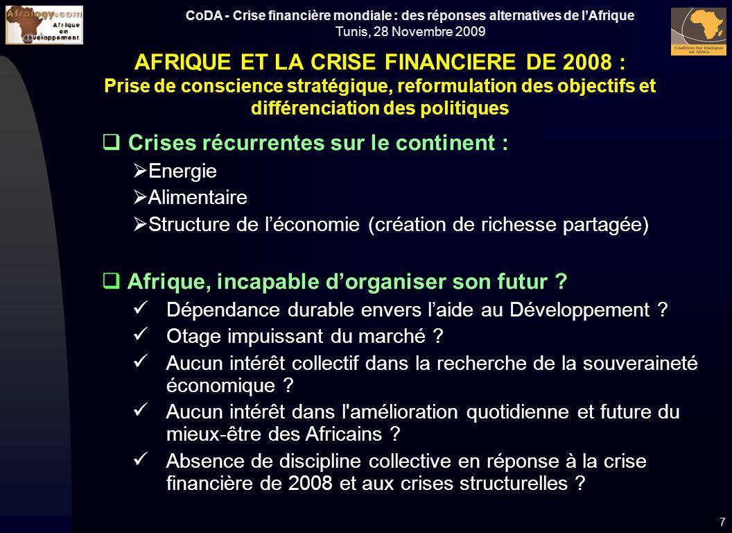CoDA - Crise financière mondiale : des réponses alternatives de lAfrique Tunis, 28 Novembre 2009 Crises récurrentes sur le continent : Energie Aliment