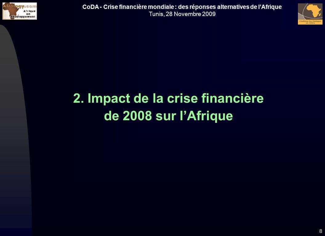 CoDA - Crise financière mondiale : des réponses alternatives de lAfrique Tunis, 28 Novembre 2009 2. Impact de la crise financière de 2008 sur lAfrique