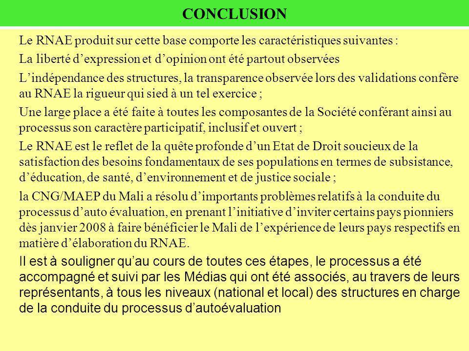 CONCLUSION Le RNAE produit sur cette base comporte les caractéristiques suivantes : La liberté dexpression et dopinion ont été partout observées Lindé