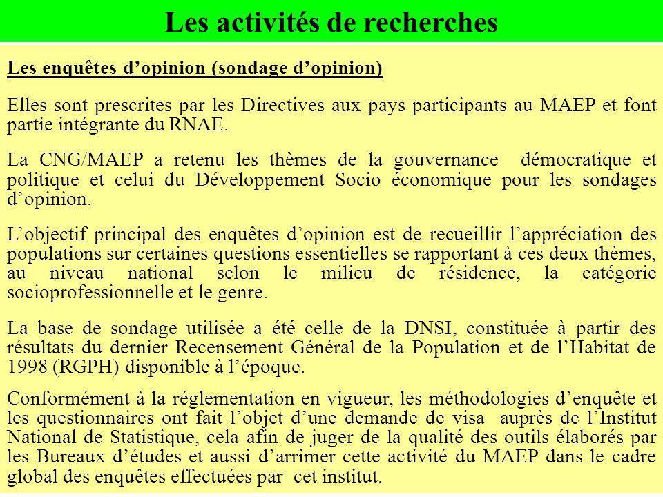 Les activités de recherches Les enquêtes dopinion (sondage dopinion) Elles sont prescrites par les Directives aux pays participants au MAEP et font pa