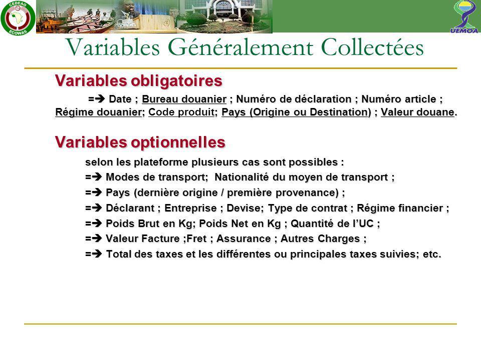 Variables obligatoires = Date ; Bureau douanier ; Numéro de déclaration ; Numéro article ; Régime douanier; ; Pays (Origine ou Destination) ; Valeur douane.