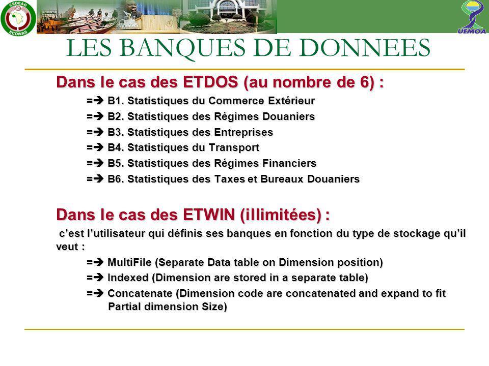 Dans le cas des ETDOS (au nombre de 6) : = B1. Statistiques du Commerce Extérieur = B2.